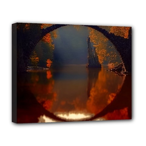 River Water Reflections Autumn Deluxe Canvas 20  X 16