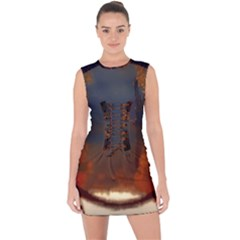 River Water Reflections Autumn Lace Up Front Bodycon Dress