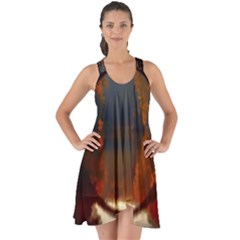 River Water Reflections Autumn Show Some Back Chiffon Dress
