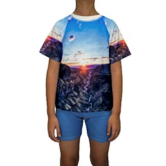 Iceland Landscape Mountains Stream Kids  Short Sleeve Swimwear
