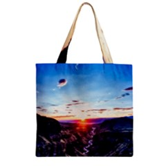 Iceland Landscape Mountains Stream Zipper Grocery Tote Bag