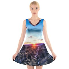 Iceland Landscape Mountains Stream V Neck Sleeveless Skater Dress