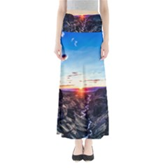 Iceland Landscape Mountains Stream Full Length Maxi Skirt