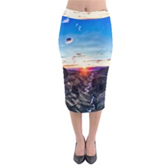 Iceland Landscape Mountains Stream Midi Pencil Skirt