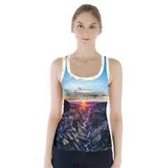 Iceland Landscape Mountains Stream Racer Back Sports Top