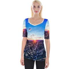 Iceland Landscape Mountains Stream Wide Neckline Tee
