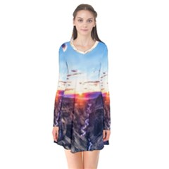 Iceland Landscape Mountains Stream Flare Dress