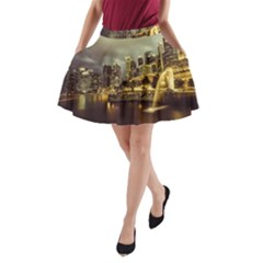 Singapore City Urban Skyline A Line Pocket Skirt