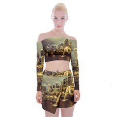 Singapore City Urban Skyline Off Shoulder Top With Mini Skirt Set