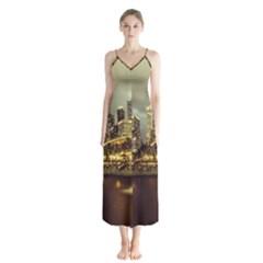 Singapore City Urban Skyline Button Up Chiffon Maxi Dress