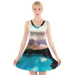 Austria Mountains Lake Water V Neck Sleeveless Skater Dress