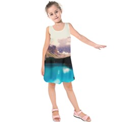 Austria Mountains Lake Water Kids  Sleeveless Dress