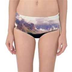 Austria Mountains Lake Water Mid Waist Bikini Bottoms