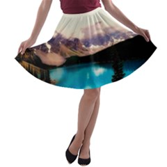 Austria Mountains Lake Water A Line Skater Skirt