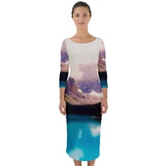 Austria Mountains Lake Water Quarter Sleeve Midi Bodycon Dress