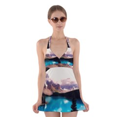 Austria Mountains Lake Water Halter Dress Swimsuit
