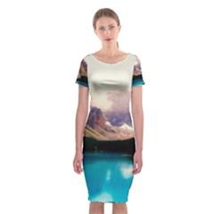 Austria Mountains Lake Water Classic Short Sleeve Midi Dress
