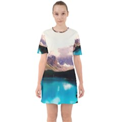Austria Mountains Lake Water Sixties Short Sleeve Mini Dress