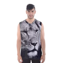 Africa Lion Male Closeup Macro Men s Basketball Tank Top