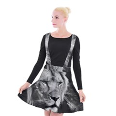 Africa Lion Male Closeup Macro Suspender Skater Skirt by BangZart