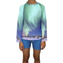 Aurora Borealis Alaska Space Kids  Long Sleeve Swimwear