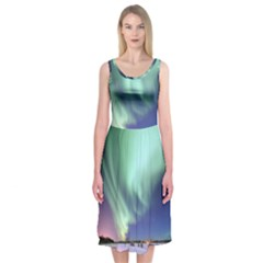 Aurora Borealis Alaska Space Midi Sleeveless Dress