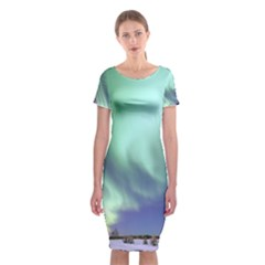 Aurora Borealis Alaska Space Classic Short Sleeve Midi Dress
