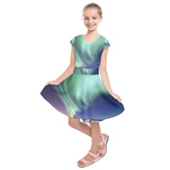 Aurora Borealis Alaska Space Kids  Short Sleeve Dress
