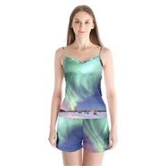 Aurora Borealis Alaska Space Satin Pajamas Set