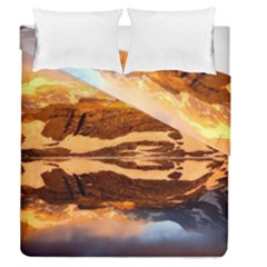 France Snow Winter Sunrise Fog Duvet Cover Double Side (queen Size)