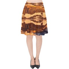 France Snow Winter Sunrise Fog Velvet High Waist Skirt