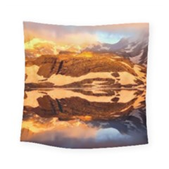 France Snow Winter Sunrise Fog Square Tapestry (small)