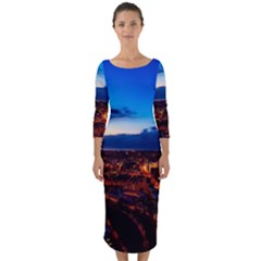 The Hague Netherlands City Urban Quarter Sleeve Midi Bodycon Dress