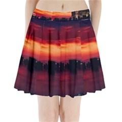 New York City Urban Skyline Harbor Pleated Mini Skirt