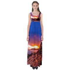 South Africa Sea Ocean Hdr Sky Empire Waist Maxi Dress