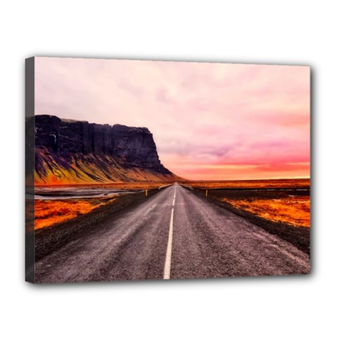 Iceland Sky Clouds Sunset Canvas 16  X 12