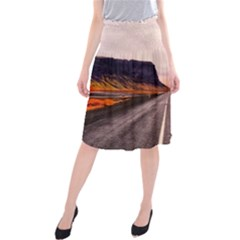 Iceland Sky Clouds Sunset Midi Beach Skirt