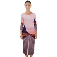 Iceland Sky Clouds Sunset Quarter Sleeve Midi Bodycon Dress