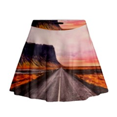 Iceland Sky Clouds Sunset Mini Flare Skirt