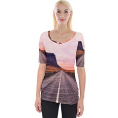 Iceland Sky Clouds Sunset Wide Neckline Tee