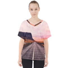 Iceland Sky Clouds Sunset V Neck Dolman Drape Top
