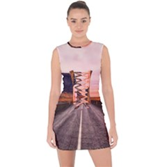 Iceland Sky Clouds Sunset Lace Up Front Bodycon Dress
