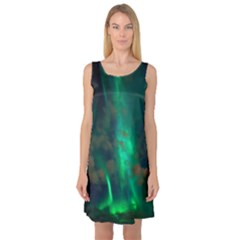 Northern Lights Plasma Sky Sleeveless Satin Nightdress