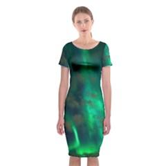 Northern Lights Plasma Sky Classic Short Sleeve Midi Dress