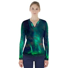 Northern Lights Plasma Sky V Neck Long Sleeve Top