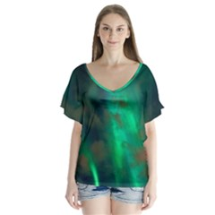 Northern Lights Plasma Sky V Neck Flutter Sleeve Top