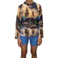 Sunset Dusk Sky Clouds Lightning Kids  Long Sleeve Swimwear