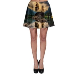 Sunset Dusk Sky Clouds Lightning Skater Skirt