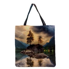 Sunset Dusk Sky Clouds Lightning Grocery Tote Bag