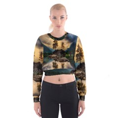 Sunset Dusk Sky Clouds Lightning Cropped Sweatshirt